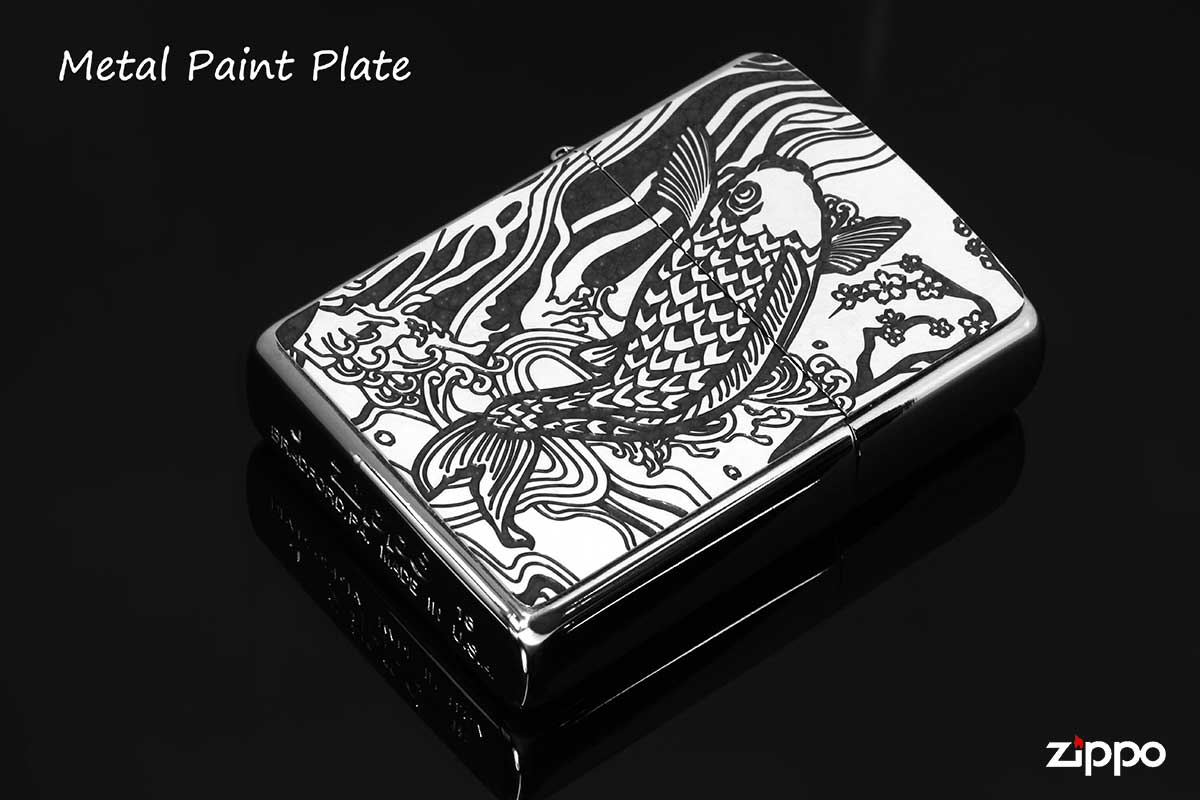 Zippo ジッポー 200 Flat Bottom Metal Paint Plate 2MPP-Carp GY